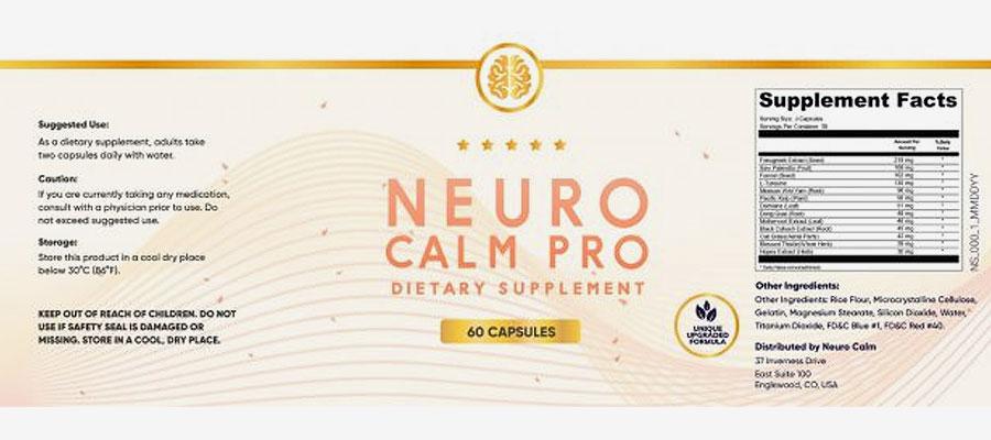 Neuro Calm Pro Ingredients Label