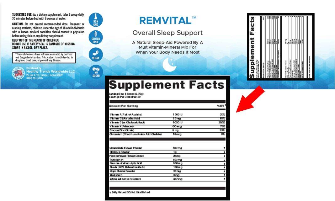 RemVital Overall Sleep Support Ingredients Label