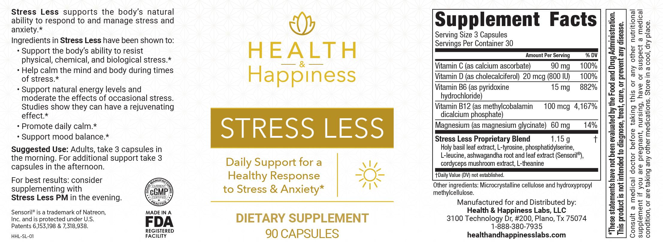 Stress Less Ingredients Label