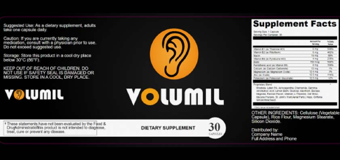 Volumil Ingredients Label
