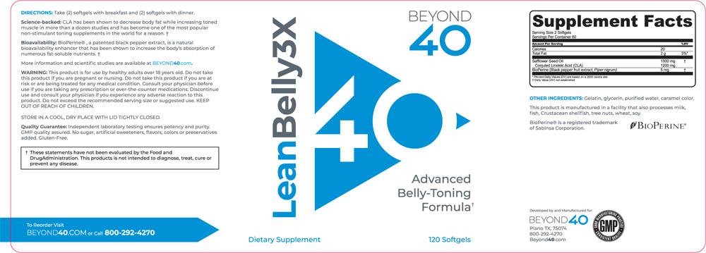 Beyond 40 Lean Belly 3X Ingredients Label