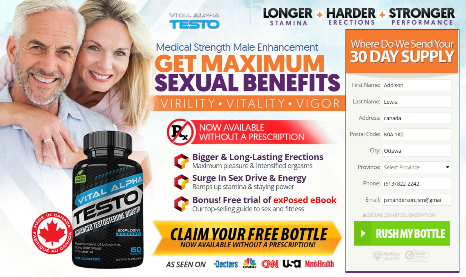 Buy Vital Alpha Testo In Canada