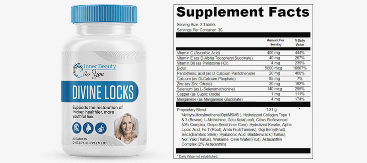 Divine Locks Ingredients Label