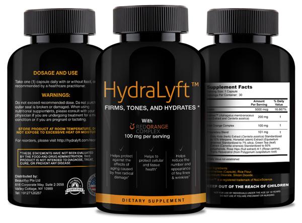 Hydralyft Ingredients Label