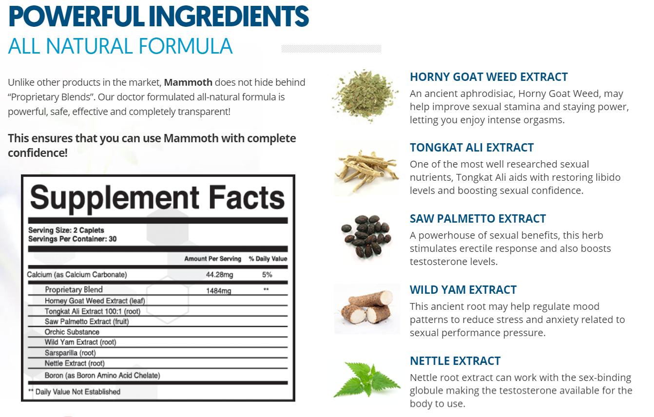 Mammoth Male Enhancement Ingredients Label