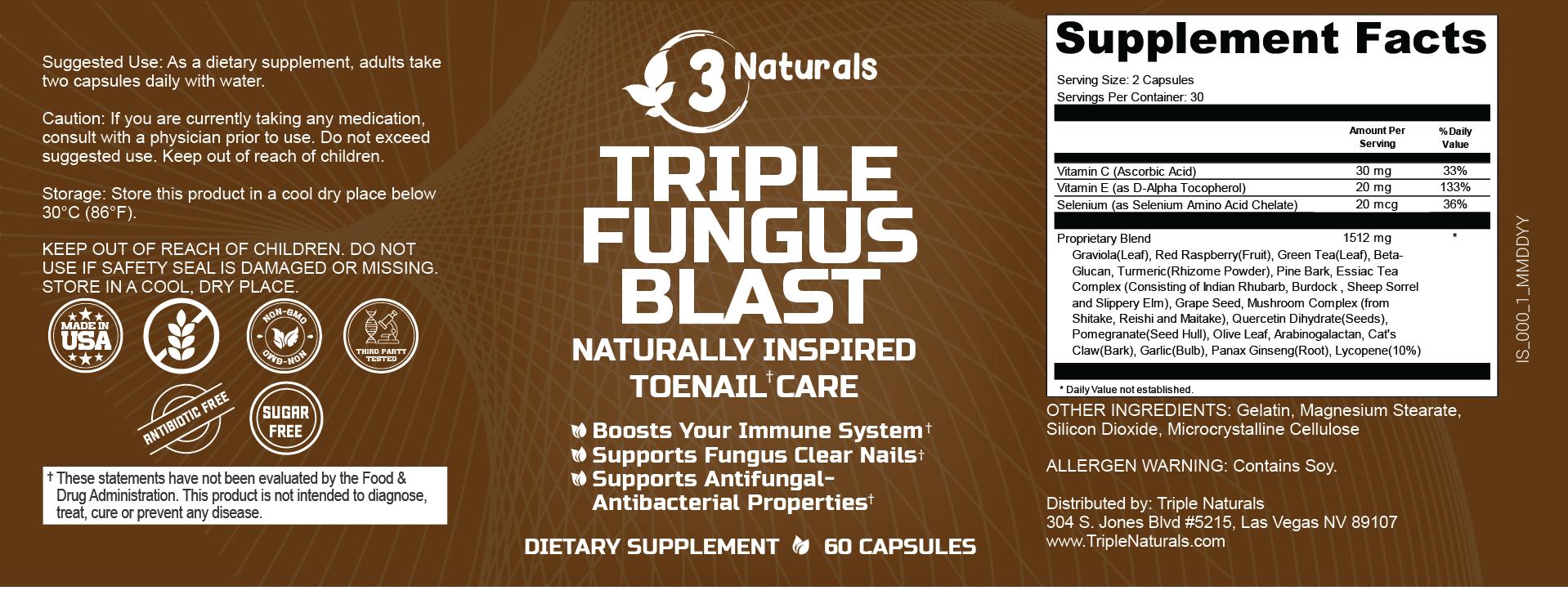 Triple Fungus Blast Ingredients Label