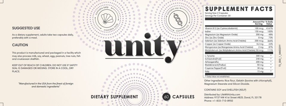 Unity Weight Loss Supplement Ingredients List Label