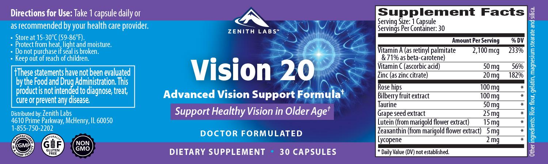 Zenith Labs Vision 20 Ingredients Label