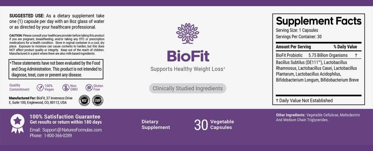 Bio Fit Ingredients Label