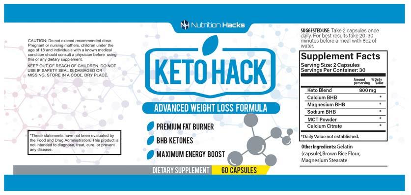 Keto Hack Ingredients Label