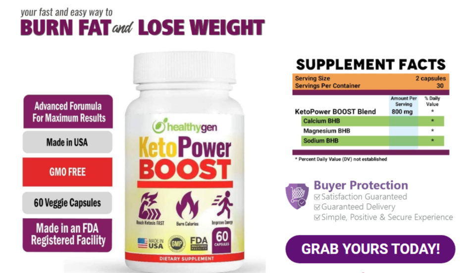 KetoPower Boost Ingredients Label
