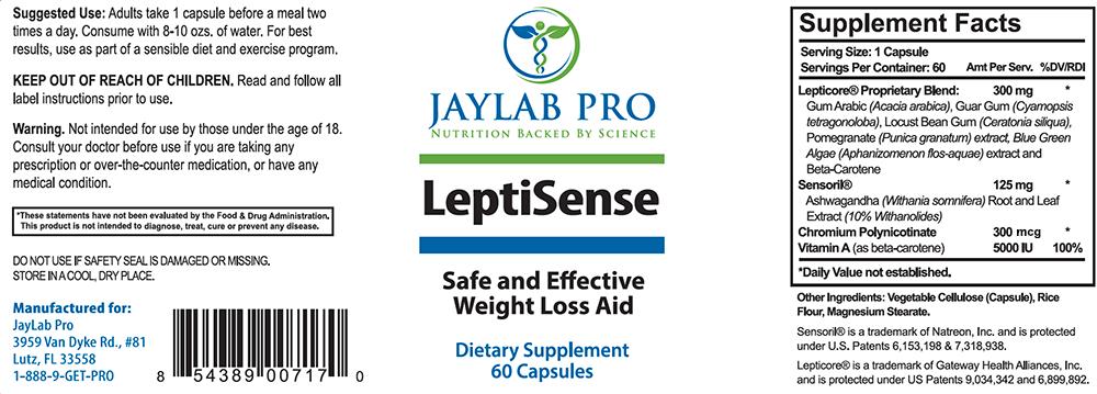 Leptisense Ingredients Label