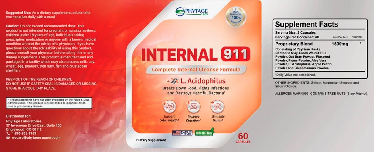 Phytage Labs Internal 911 Ingredients