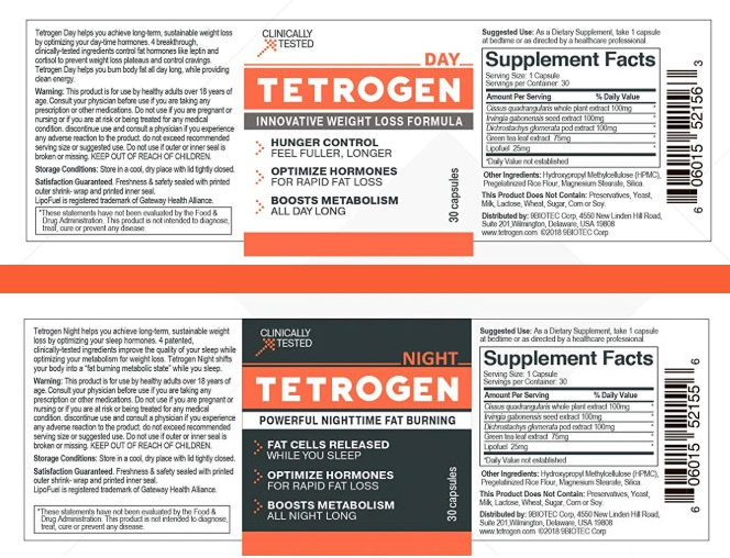 Tetrogen Day and Night Ingredients