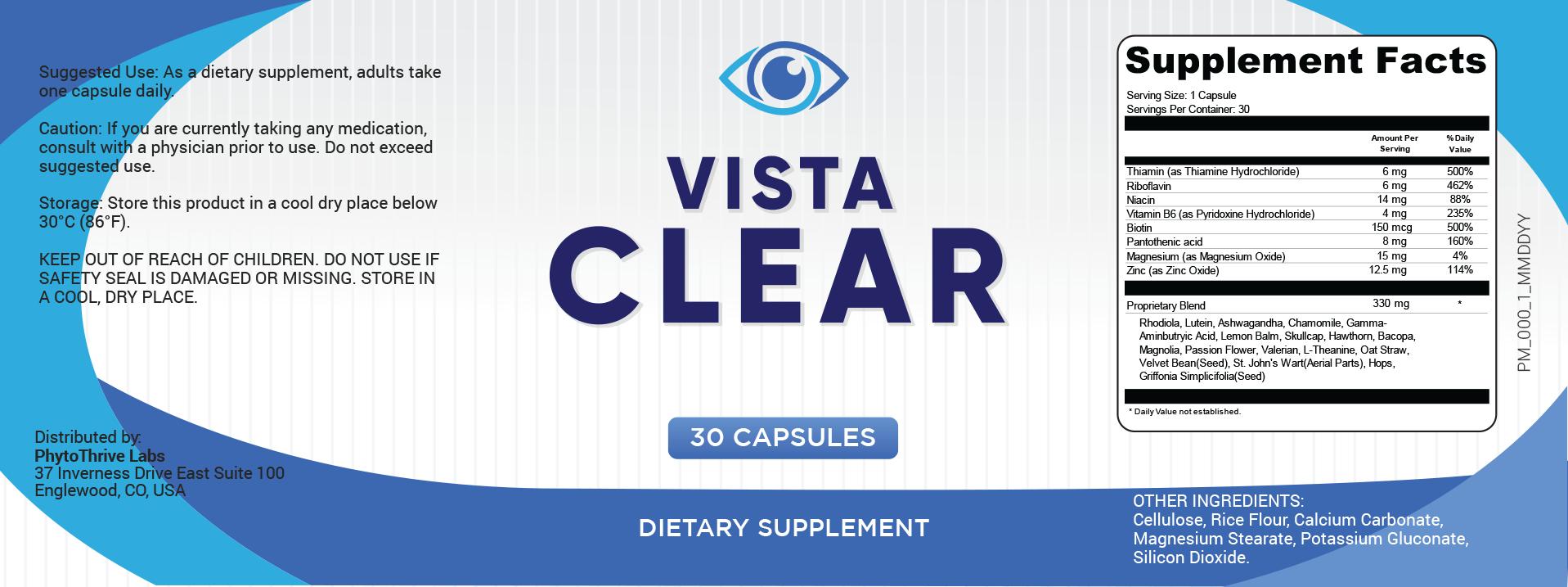 Vista Clear Ingredients Label