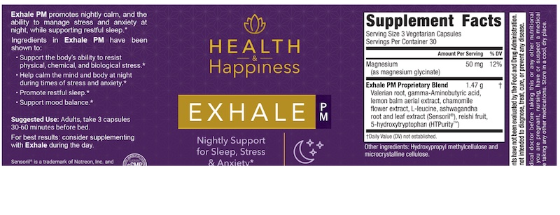 Exhale PM Ingredients Label
