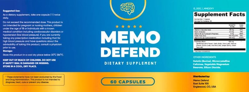 Memo Defend Ingredients Label