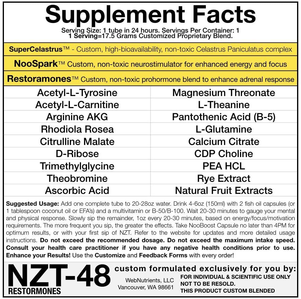 NZT-48 Ingredients Label