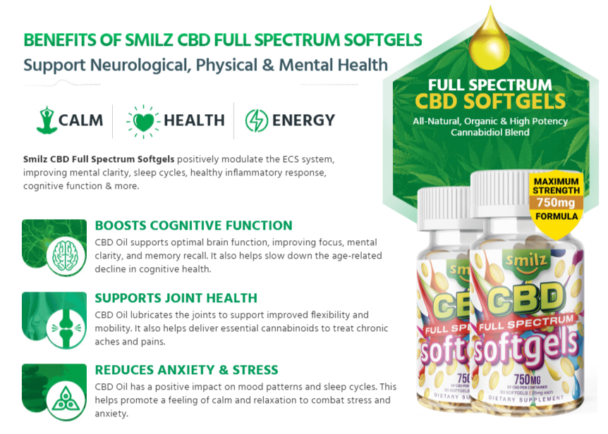 Smilz CBD Full Spectrum Softgels Ingredients Label