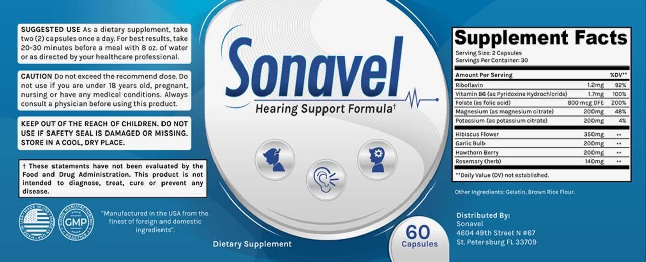 Sonavel Ingredients Label