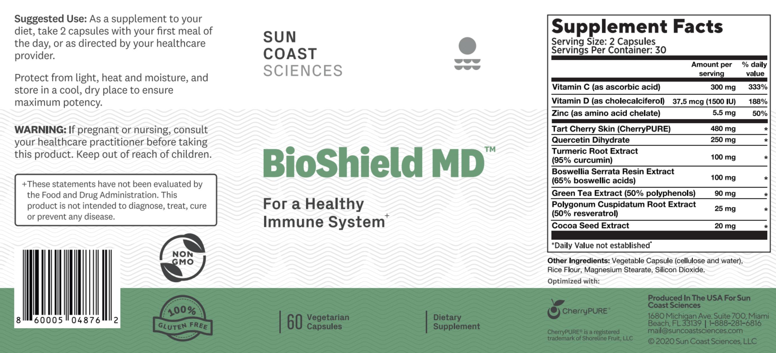 BioShield MD Ingredients Label