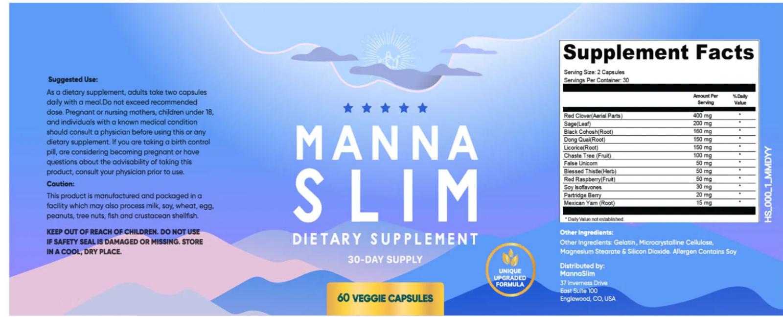 MannaSlim Ingredients Label