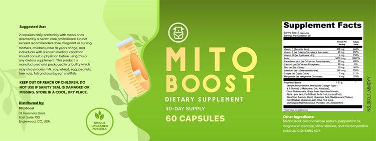 mitoboost ingredients label