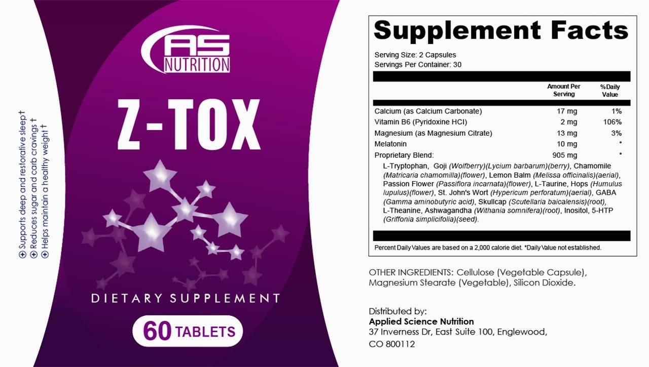 z-tox ingredients label