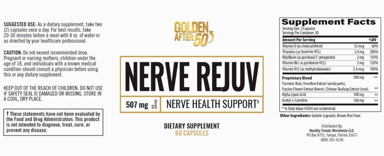 Golden After 50 Nerve Rejuv Ingredients Label