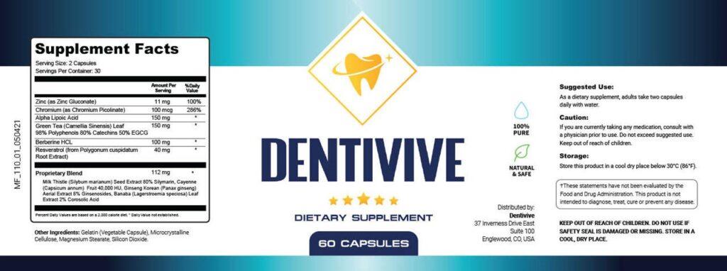 DentiVive Ingredients Label