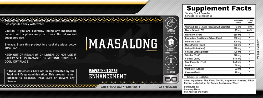 MaasaLong Ingredients Label