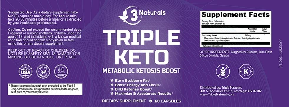 3 Naturals Triple Keto Ingredients Label
