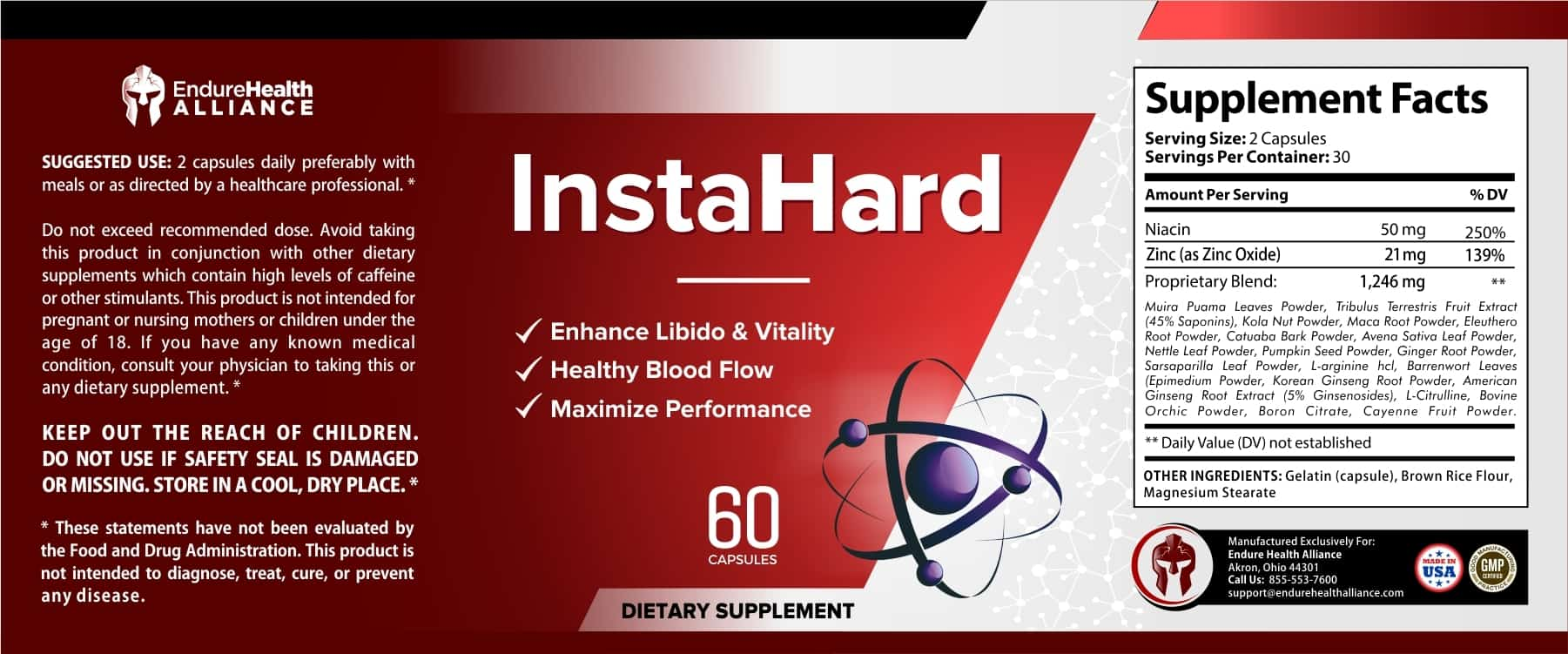 InstaHard Ingredients Label