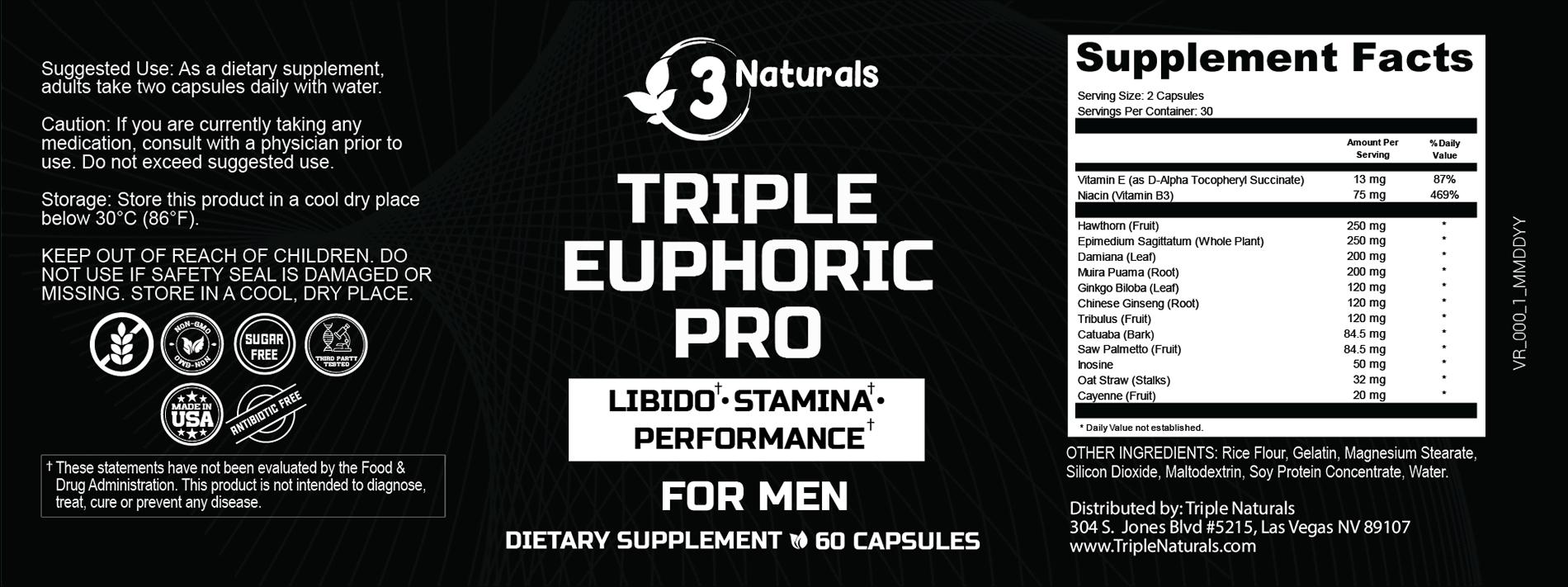 Triple Euphoric Pro Ingredients Label