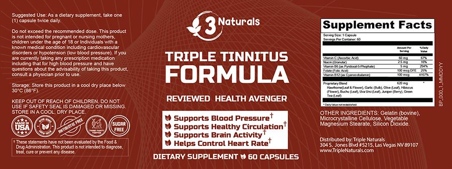Triple Tinnitus Formula Ingredients Label