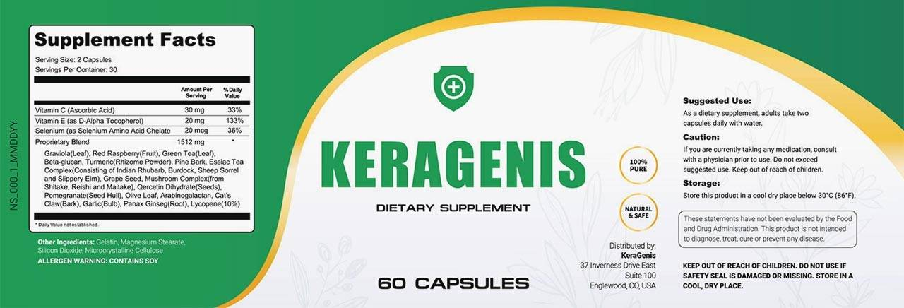 KeraGenis Ingredients Label