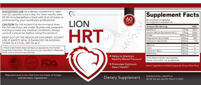 Lion HRT Ingredients Label