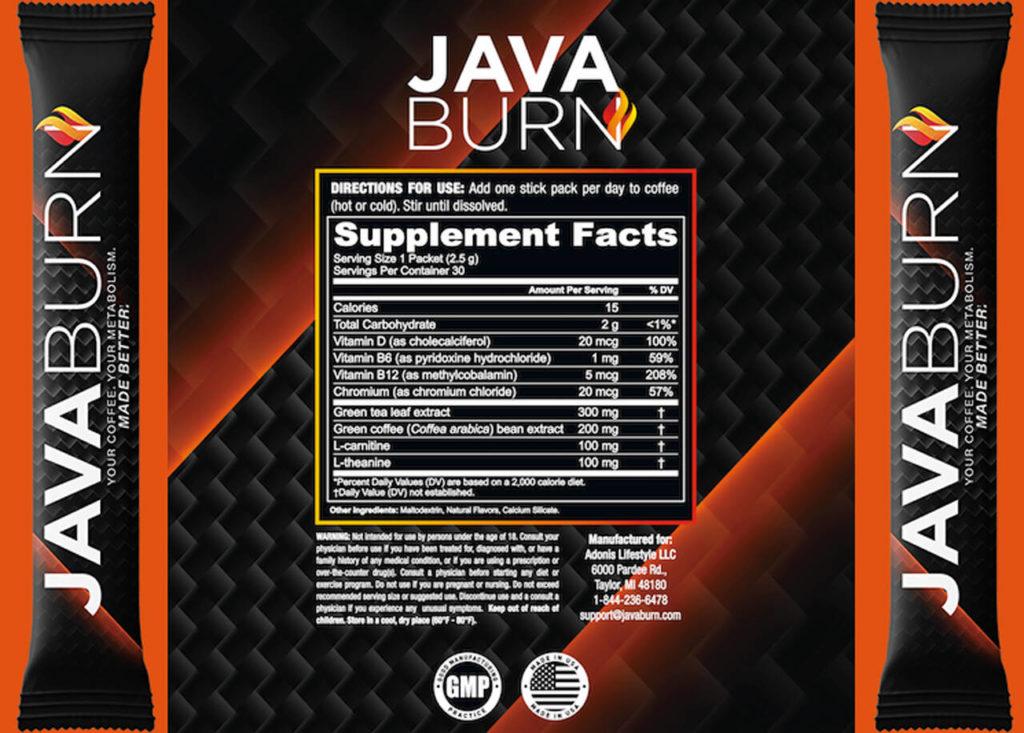 Java Burn Ingredients Label